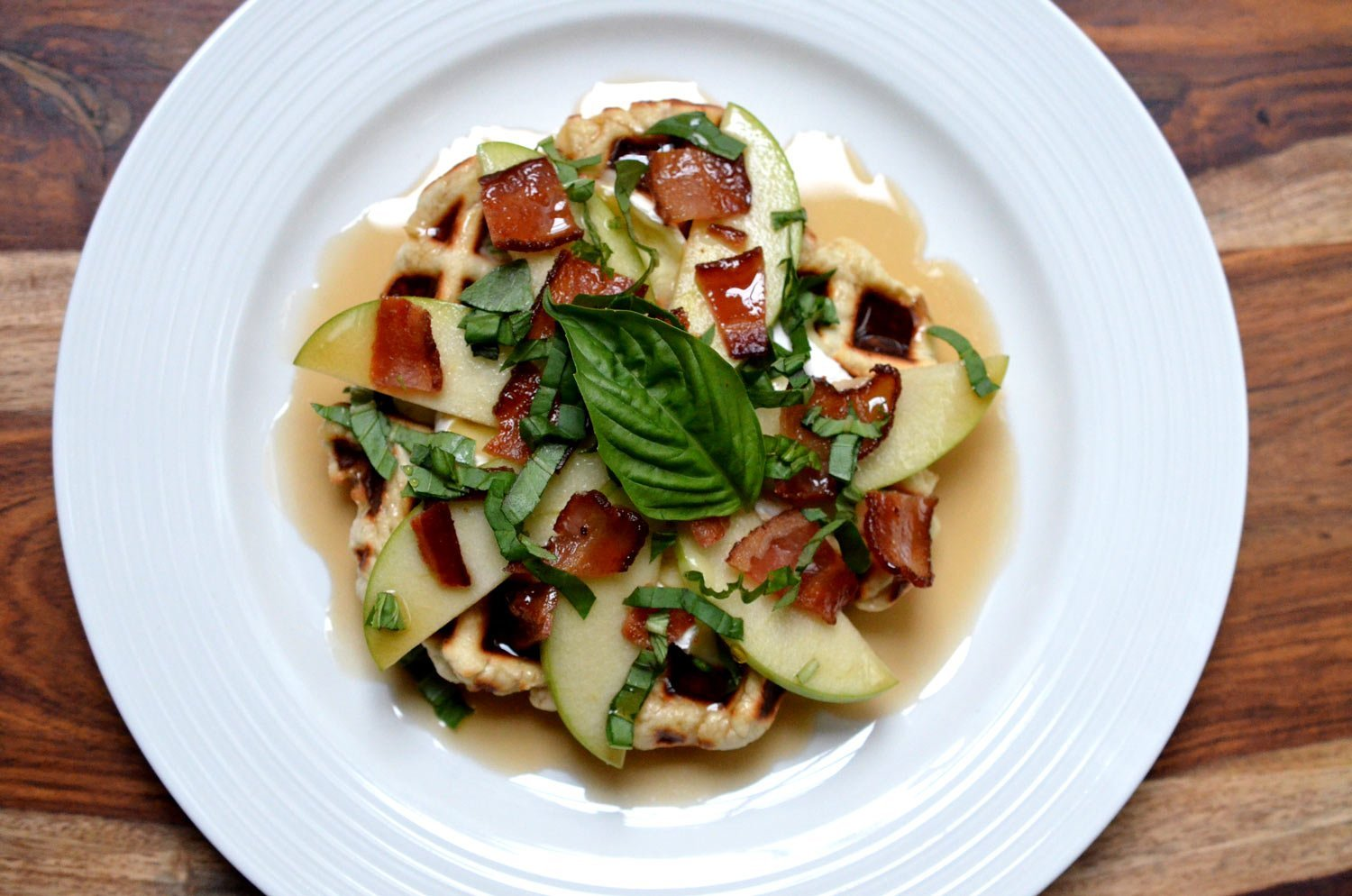 Apple, Bacon, Brie & Basil Waffles