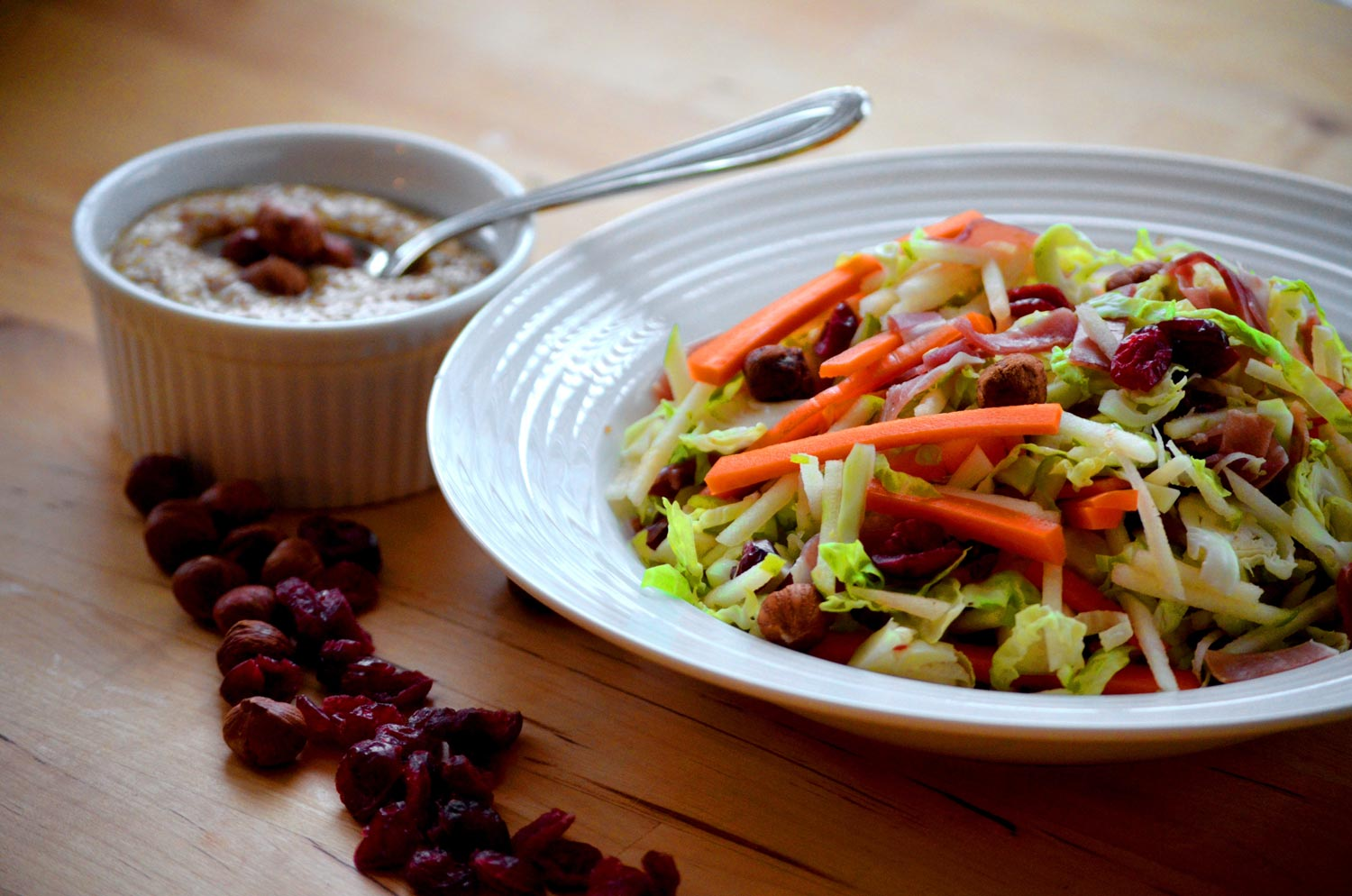 Brussel Sprout Slaw with Hazelnut dressing