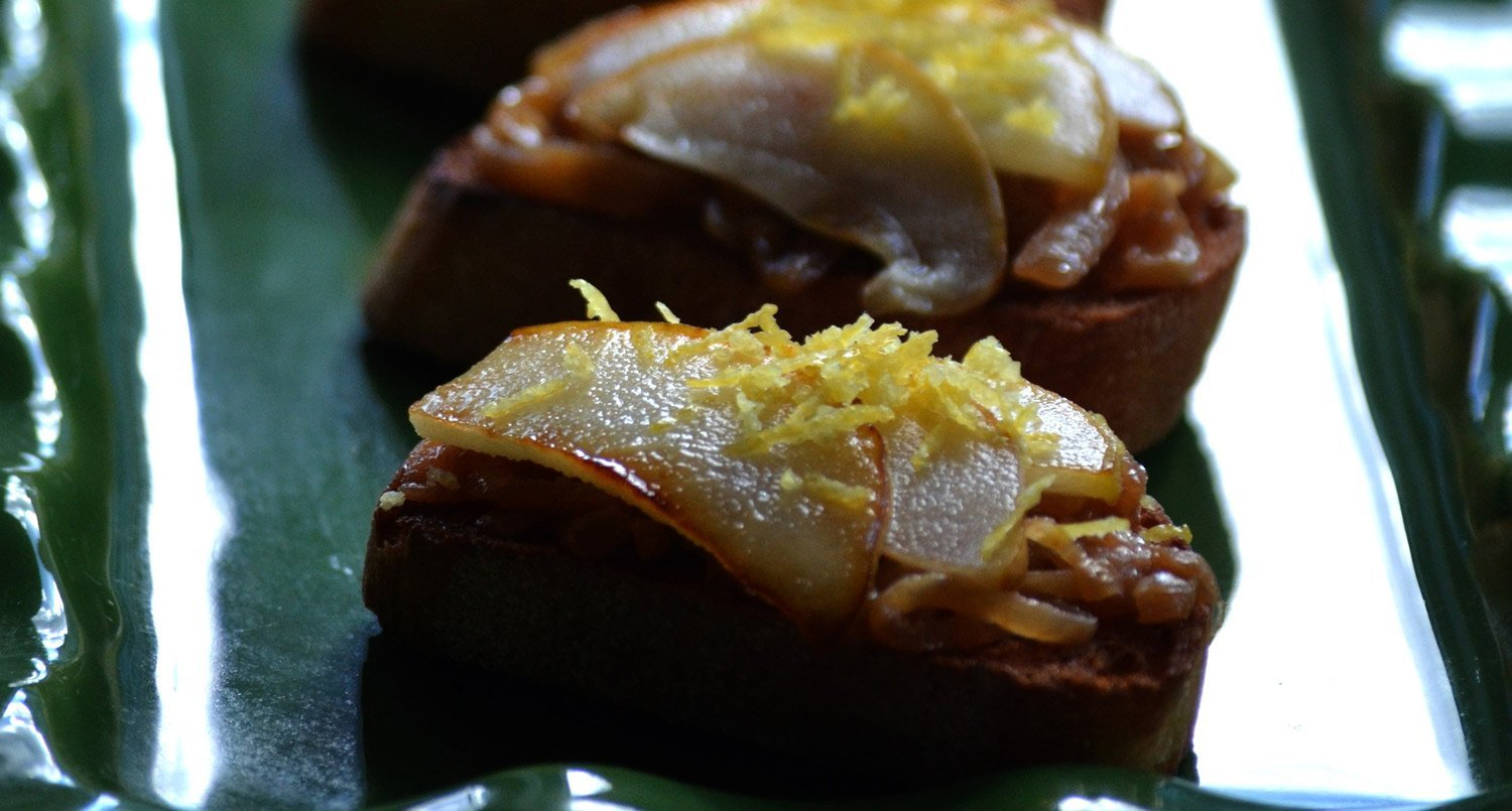 Caramelized Onion & Pear Crostini