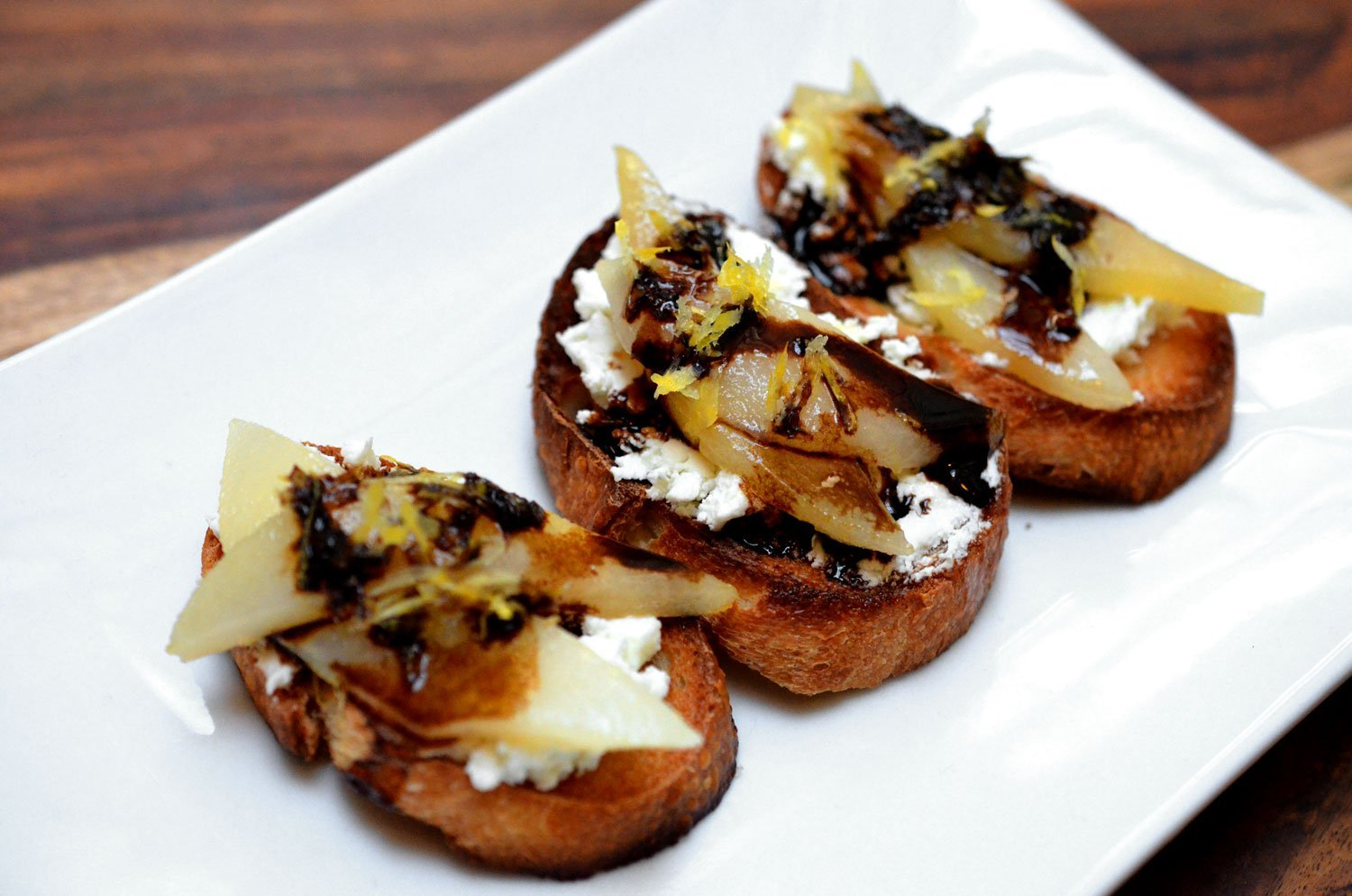Goat Cheese & Sauteed Pear Crostini
