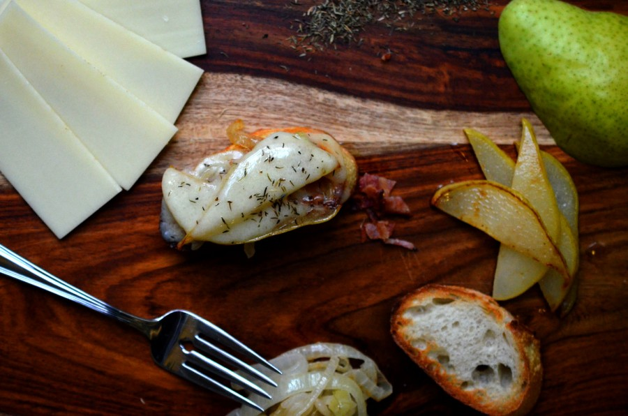 Sauteed Onion, Pear & Bacon Crostini