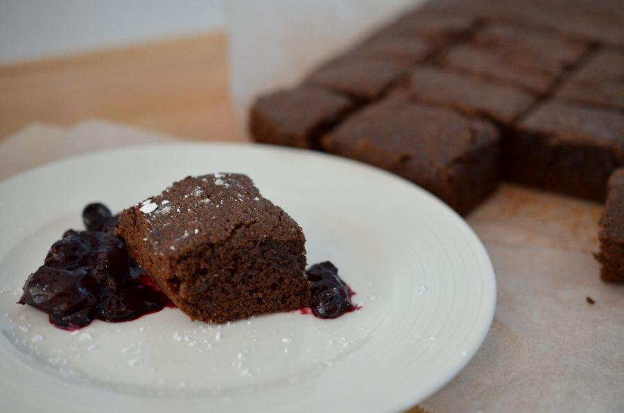 Brownies with Cherry, Blueberry & Blackberry Compote