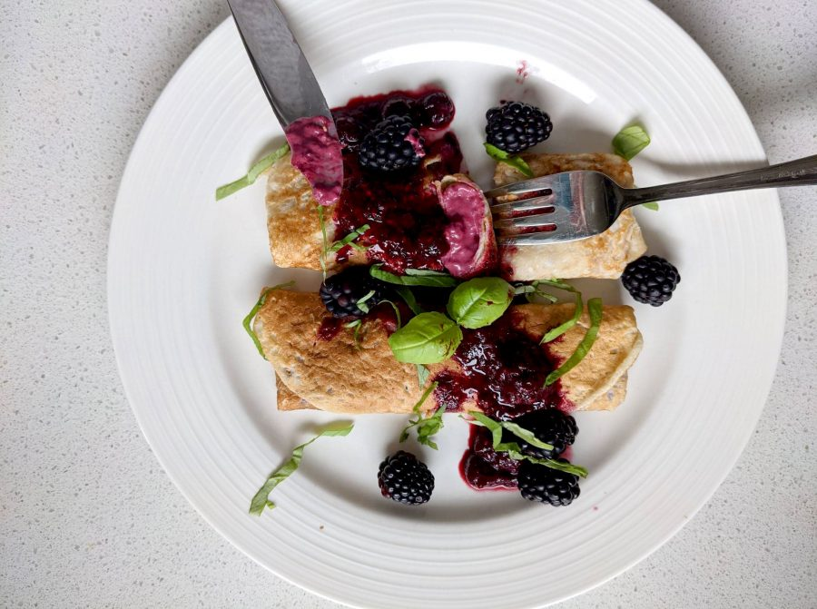 Berry, Basil & Chevre Crepes