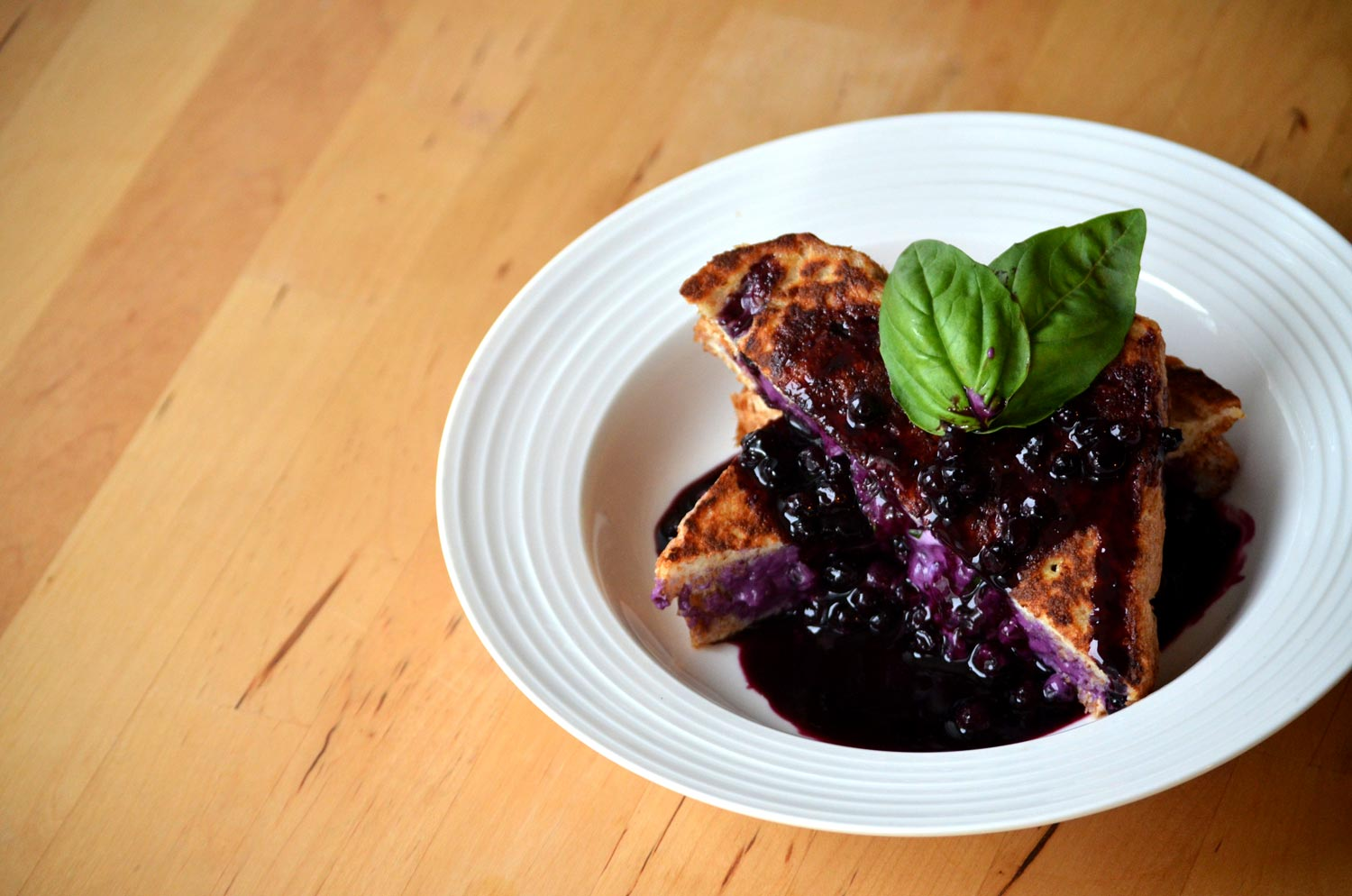 Blueberry, Chevre & Basil Stuffed French Toast with Blueberry Compote