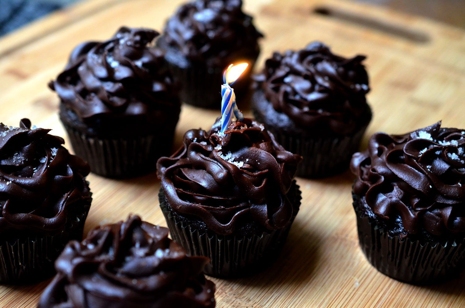 Chocolate Cupcakes with Salted Chocolate Ganache Icing