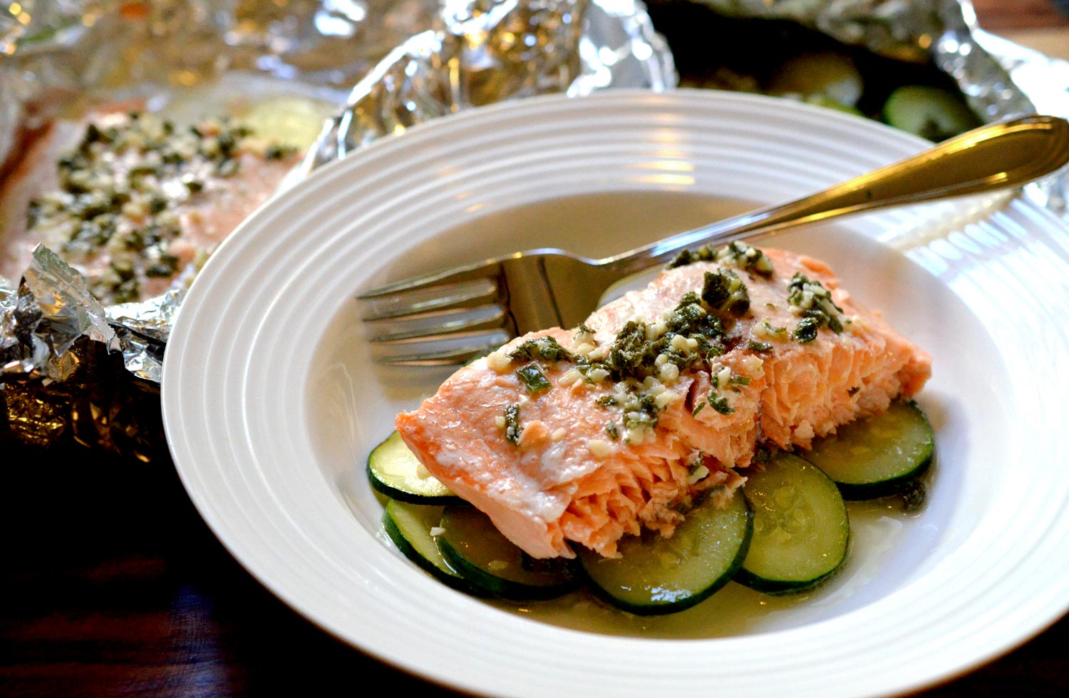 Salmon with Zucchini & Sage Garlic Butter