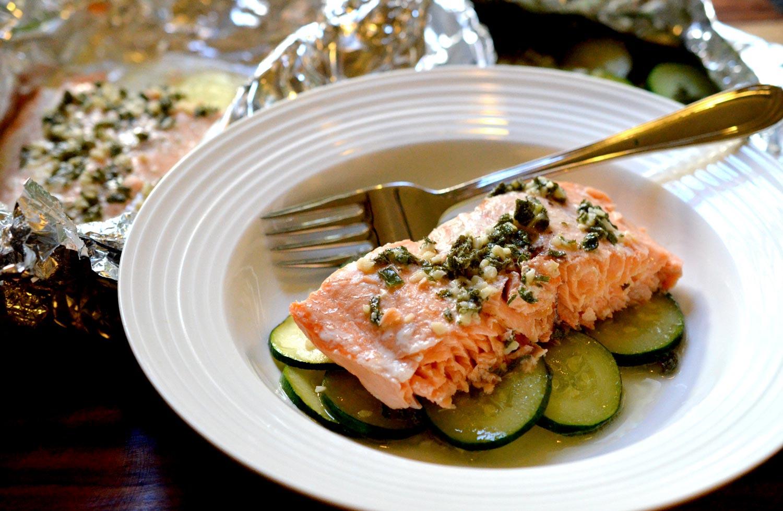 Salmon with Zucchini & Sage Garlic Butter
