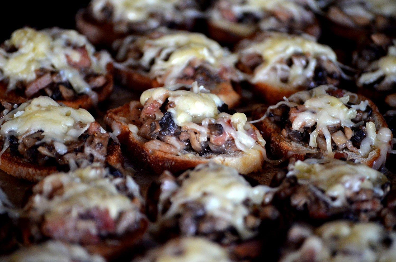 Mushroom, Bacon & Gruyère Crostini