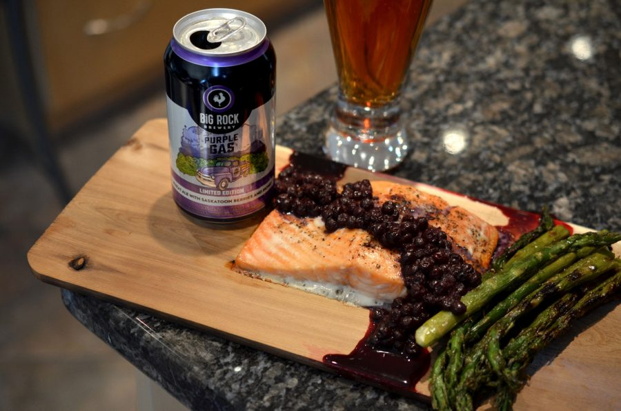 Cedar Planked Salmon with Blueberry Compote