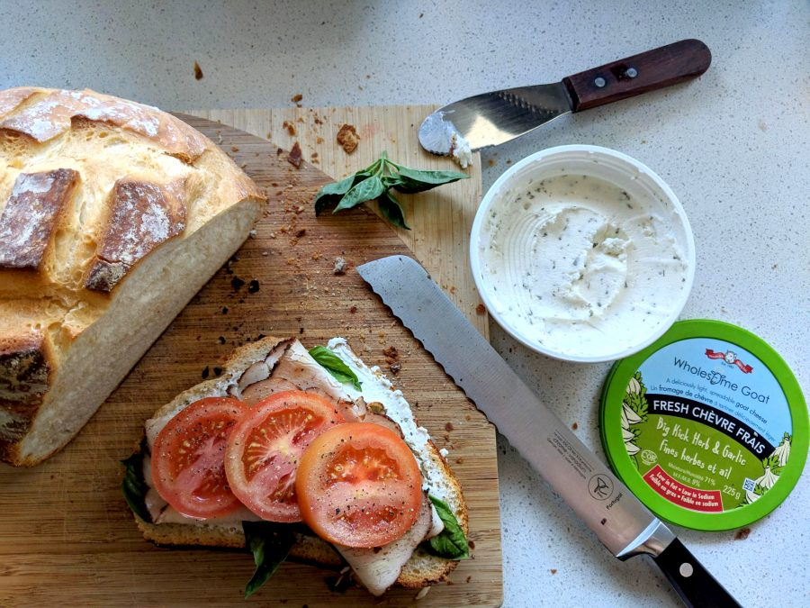 Turkey Basil Sandwich with Tomato & Herbed Goat Cheese